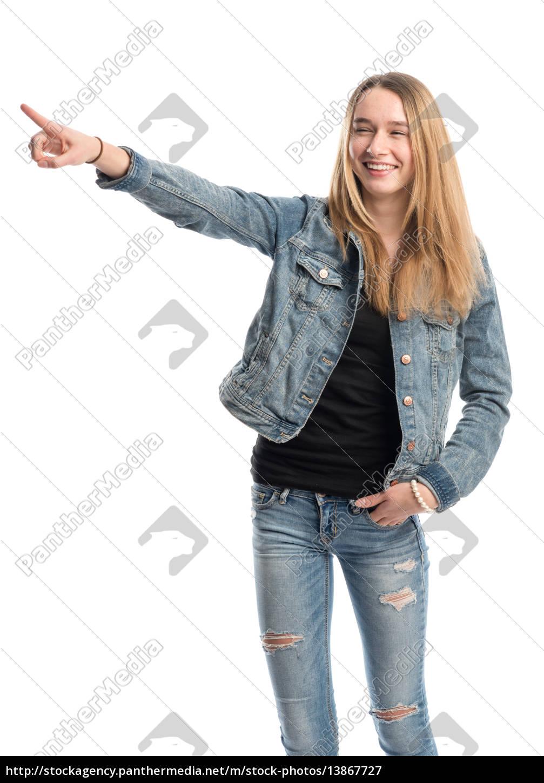 dziewczyna, daje, prezentację - 13867727