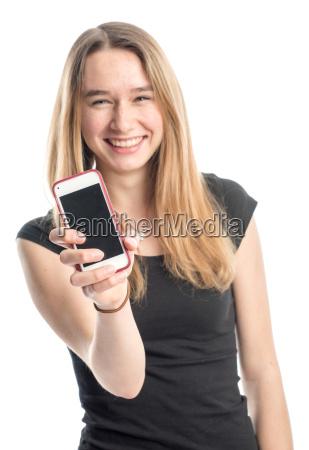 nastoletnia, dziewczyna, przedstawia, telefon, komórkowy, i - 13867739