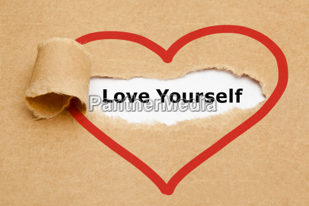 love yourself rozdarty papieru