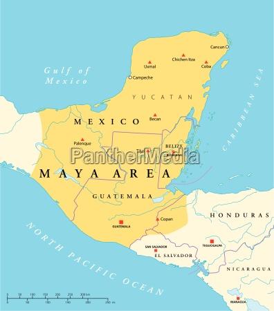 mapa obszaru wysokiej kultury majow
