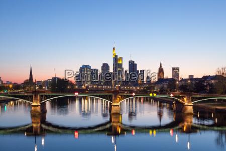 frankfurt main skyline at night germany