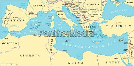 mapa polityczna regionu morza srodziemnego