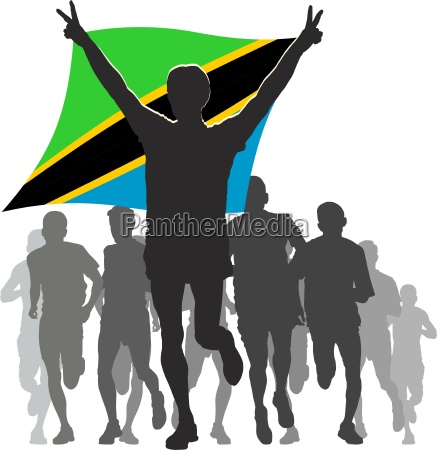 athlete with the tanzania flag at