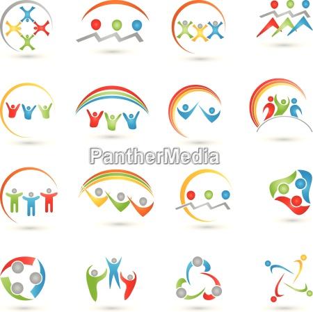 kolekcja logo ludzi zespol