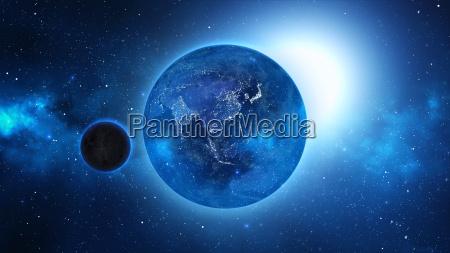 planet earth z slonce w uniwersum