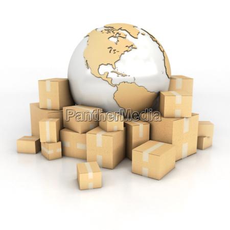 ziemia i kartonowe pudelka w fakturze