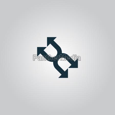 czterokrotnie arrow ikona wektora na bialym