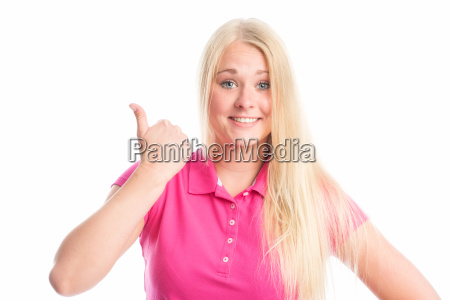young blond womans face showing thumbs