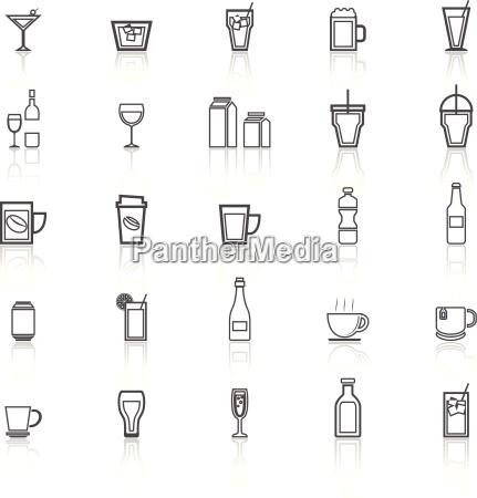 beber iconos de linea con reflexionar