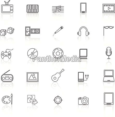 ikony linii rozrywki z refleksji na