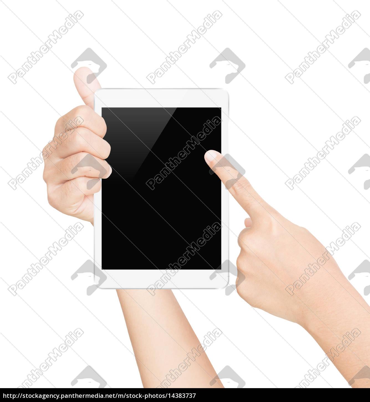 biały, ekran, tabletka, na, białym, tle - 14383737