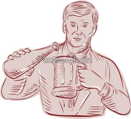 man pouring beer mug etching