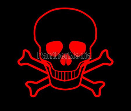czerwona czaszka i crossbones