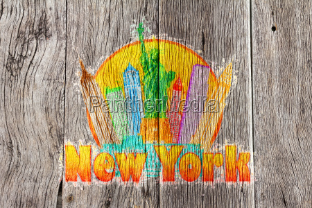 new york city colorful skyline in