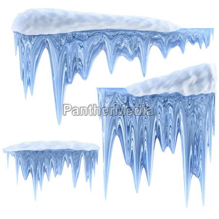 zestaw wiszacych lodowcach o niebieskim odcieniu