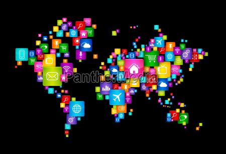 mapa swiata wykonana z latajacych ikon