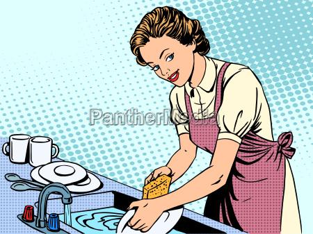 kobieta mycia naczyn gospodyni domowej komfort