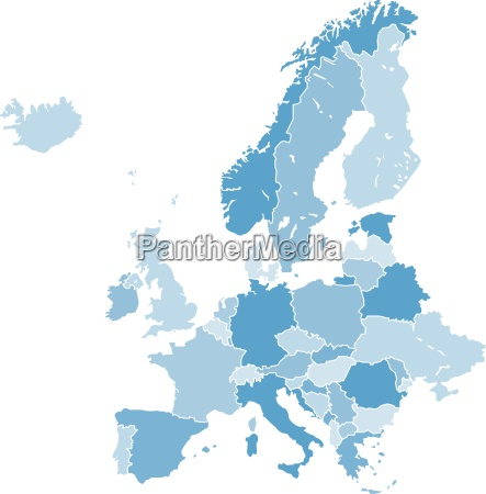 europe map vector blue