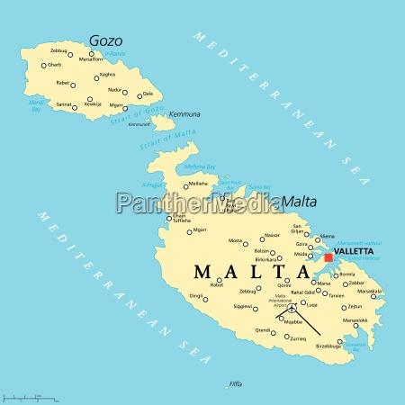 malta mapa polityczna