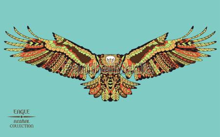 zentangle stylizowany na orla szkic do