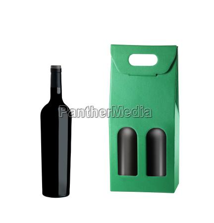 pakiet winiarski i butelka na bialym