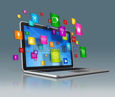 laptop komputer i latajace aplikacje ikony