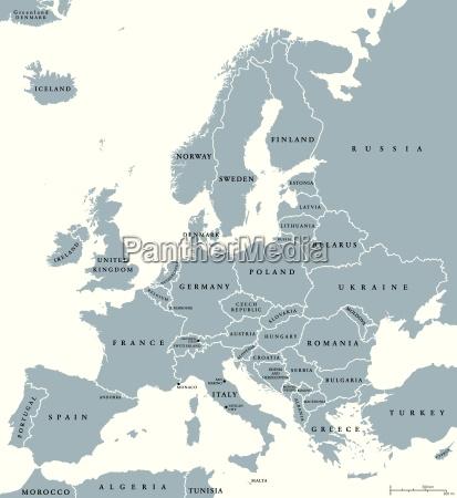 kraje europy mapa polityczna
