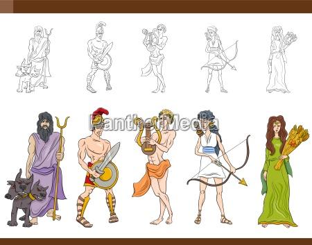 greccy bogowie ustawiaja ilustracje