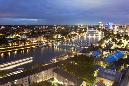 river main in frankfurt at dusk
