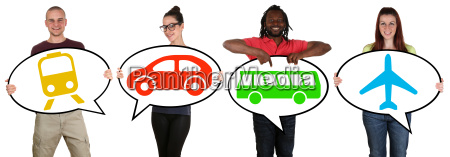 mlodzi ludzie z transportu autobusowego wybory