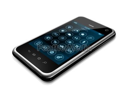 smartphone z aplikacjami ikony interfejsu