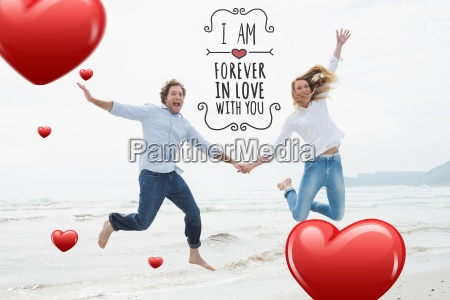 composite image of cheerful couple holding