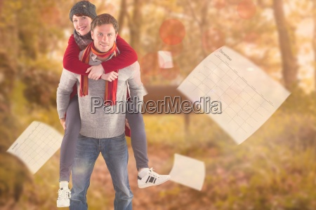 composite image of man giving girlfriend