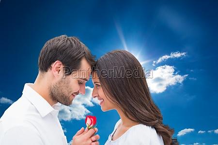 composite image of handsome man offering
