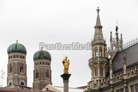munich marian column frauenkirche new town