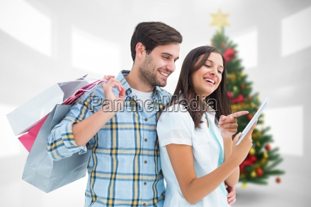composite image of happy couple with