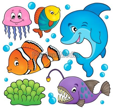 fauna oceanu temat zestaw 1
