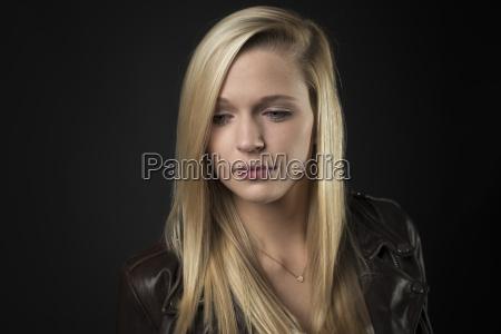 sensual blonde in portrait