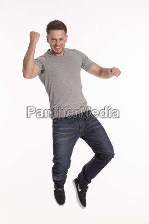 young man doing a freudensprung