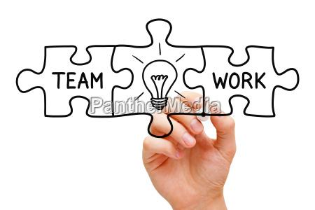 teamwork great idea puzzle concept