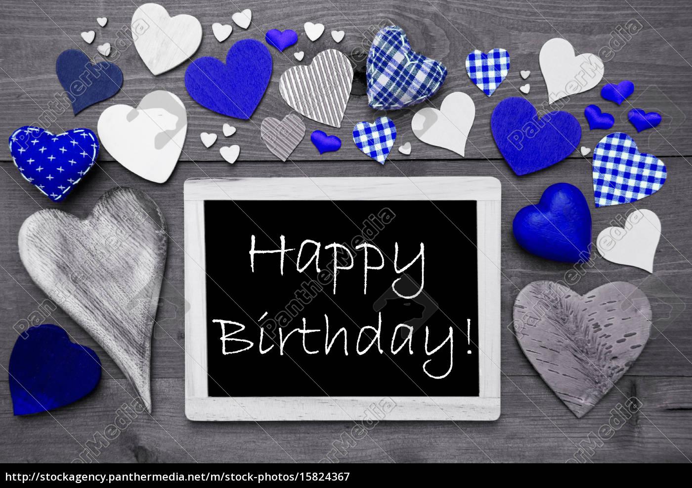 czarno-biały, chalkbord, wiele, niebieskich, serc, szczęśliwe, urodziny - 15824367
