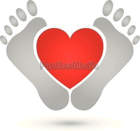 dwie stopy i serce logo stopy