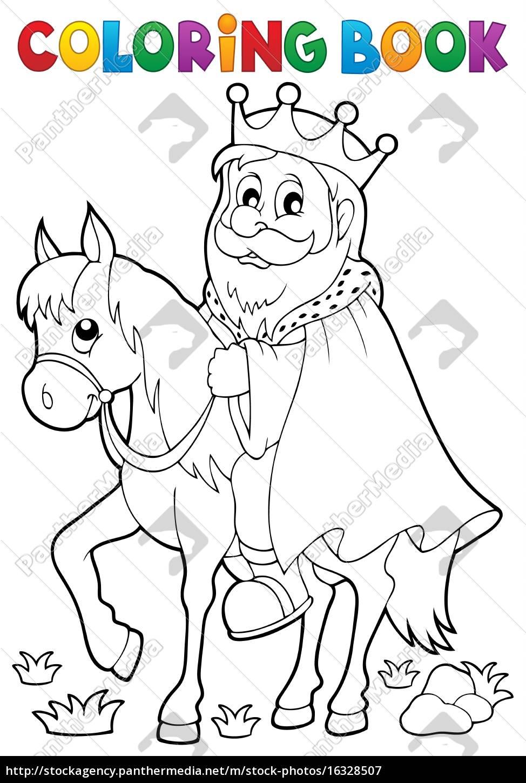 kolorowanka, król, na, temat, konia, 1 - 16328507