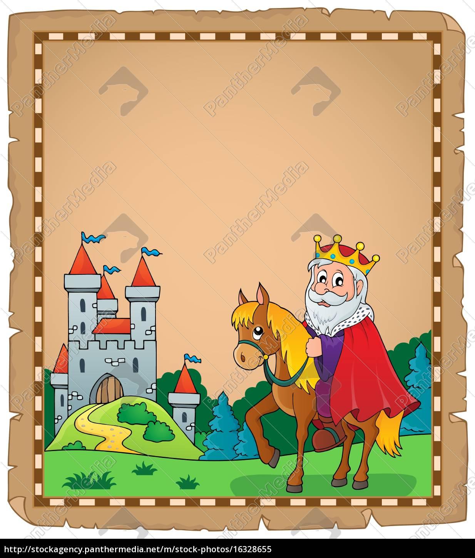 pergamin, z, królem, na, koniu, theme - 16328655