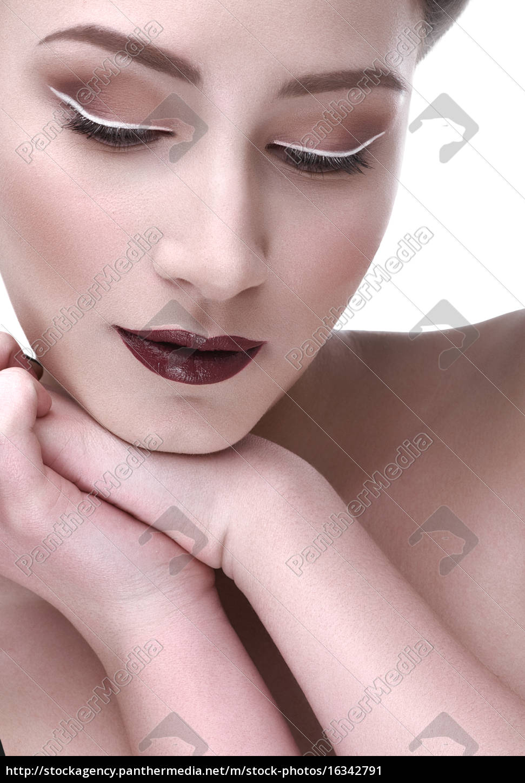 kontrast, makijaż, piękna, kobieta, ręka, ramię - 16342791