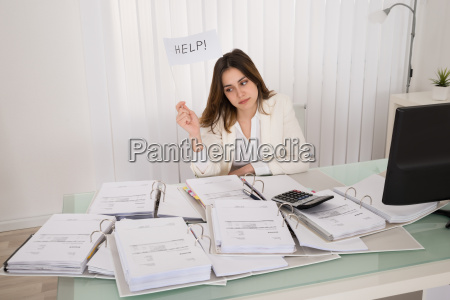 unhappy woman holding help flag in