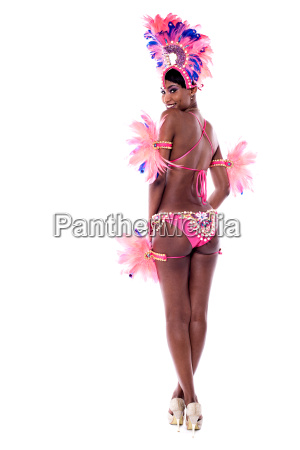 rear view of dancing african woman