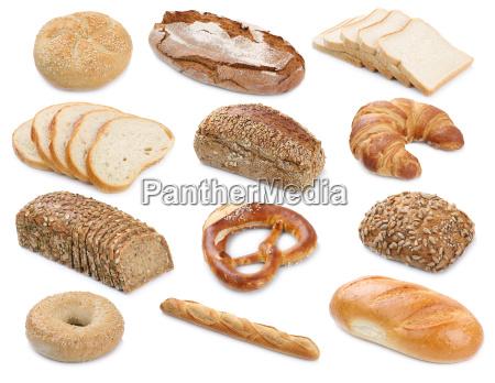 chleb pieczywo na bialym tle pieczone