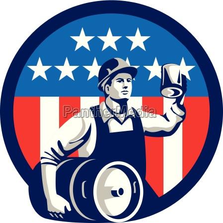 american builder beer keg flag circle