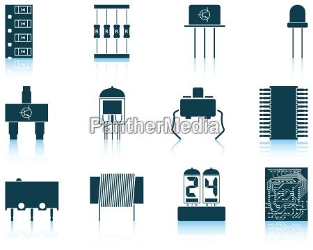 zestaw komponentow elektronicznych ikon